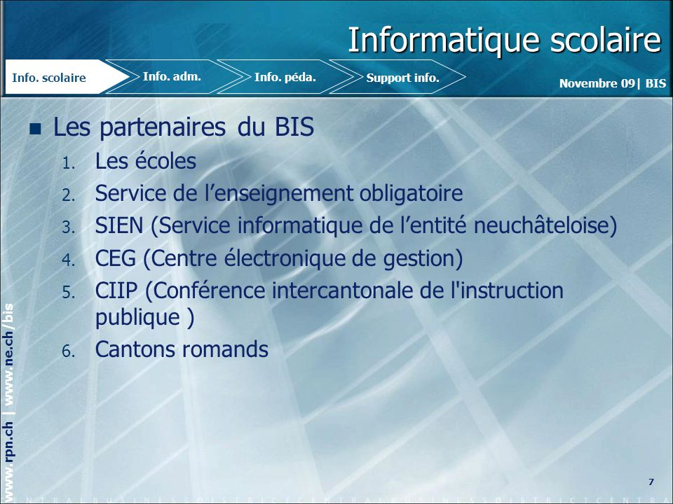 Novembre 09| BIS www.rpn.ch | www.ne.ch/bis Informatique scolaire Les défis à venir (EE-EP) 1.