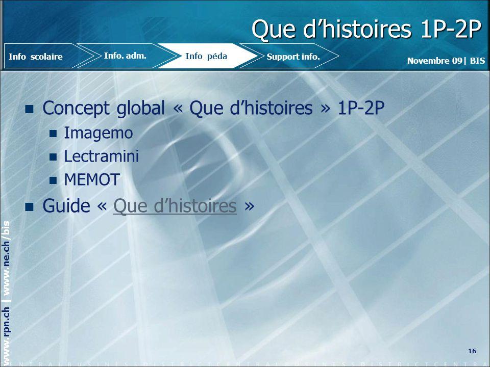 Novembre 09| BIS www.rpn.ch | www.ne.ch/bis Que dhistoires 1P-2P Concept global « Que dhistoires » 1P-2P Imagemo Lectramini MEMOT Guide « Que dhistoires »Que dhistoires 16 Info.