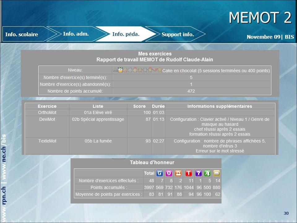 Novembre 09| BIS www.rpn.ch | www.ne.ch/bis MEMOT 2 30 Info.