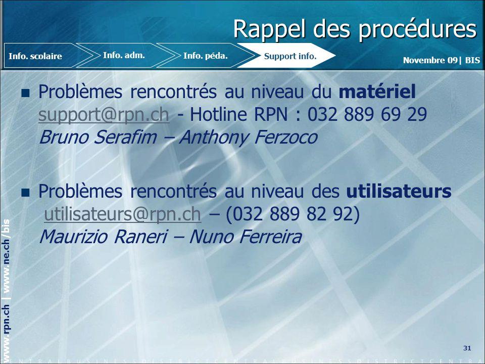 Novembre 09| BIS www.rpn.ch | www.ne.ch/bis Rappel des procédures Problèmes rencontrés au niveau du matériel support@rpn.ch - Hotline RPN : 032 889 69 29 Bruno Serafim – Anthony Ferzoco support@rpn.ch Problèmes rencontrés au niveau des utilisateurs utilisateurs@rpn.ch – (032 889 82 92) Maurizio Raneri – Nuno Ferreirautilisateurs@rpn.ch 31 Info.