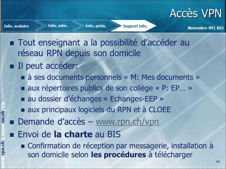 Novembre 09| BIS www.rpn.ch | www.ne.ch/bis Accès VPN Tout enseignant a la possibilité daccéder au réseau RPN depuis son domicile Il peut accéder: à ses documents personnels « M: Mes documents » aux répertoires publics de son collège « P: EP… » au dossier déchanges « Echanges-EEP » aux principaux logiciels du RPN et à CLOEE Demande daccès – www.rpn.ch/vpnwww.rpn.ch/vpn Envoi de la charte au BIS Confirmation de réception par messagerie, installation à son domicile selon les procédures à télécharger 34 Info.