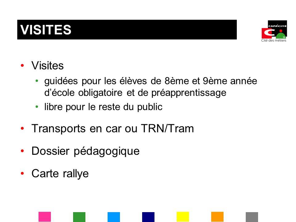 Visites guidées pour les élèves de 8ème et 9ème année décole obligatoire et de préapprentissage libre pour le reste du public Transports en car ou TRN/Tram Dossier pédagogique Carte rallye VISITES