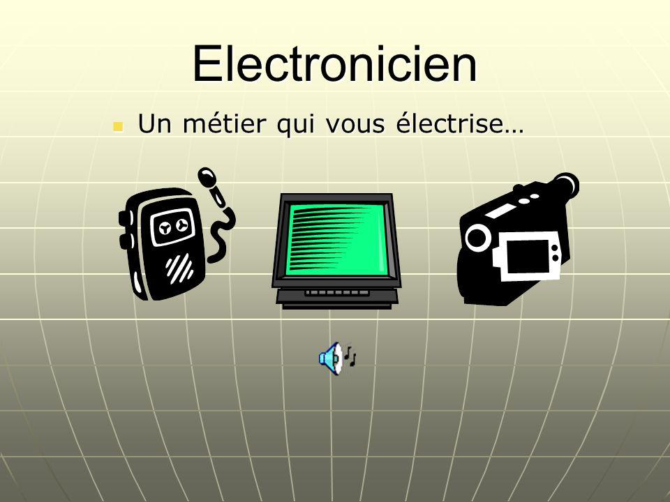 Description Lélectronicien développe, installe et exploite des circuits électriques, des dispositifs de commande ou de contrôle et des programmes informatiques utiles au bon fonctionnement dappareils électroniques.