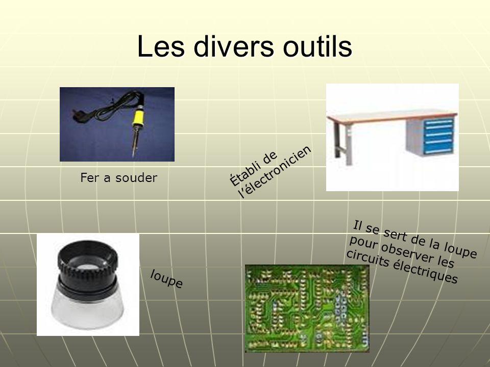 Les divers outils Fer a souder loupe Établi de lélectronicien Il se sert de la loupe pour observer les circuits électriques