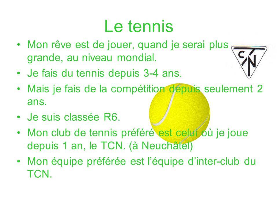 Le tennis Mon rêve est de jouer, quand je serai plus grande, au niveau mondial. Je fais du tennis depuis 3-4 ans. Mais je fais de la compétition depui