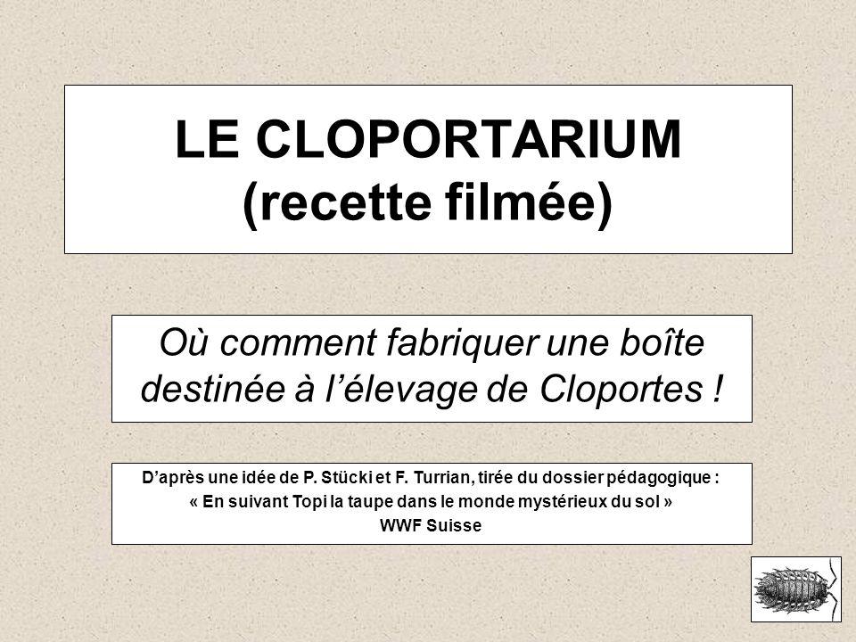 LE CLOPORTARIUM (recette filmée) Où comment fabriquer une boîte destinée à lélevage de Cloportes ! Daprès une idée de P. Stücki et F. Turrian, tirée d