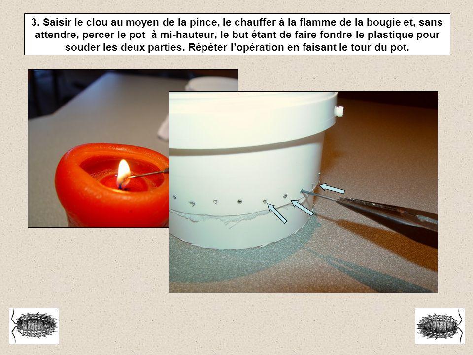 3. Saisir le clou au moyen de la pince, le chauffer à la flamme de la bougie et, sans attendre, percer le pot à mi-hauteur, le but étant de faire fond