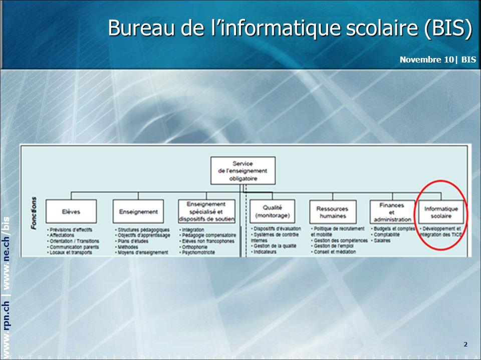 Novembre 10| BIS www.rpn.ch | www.ne.ch/bis Bureau de linformatique scolaire (BIS) 3