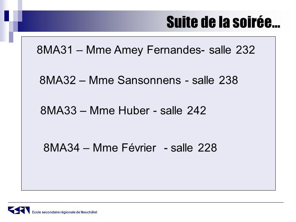 Ecole secondaire régionale de Neuchâtel Suite de la soirée… 8MA31 – Mme Amey Fernandes- salle 232 8MA32 – Mme Sansonnens - salle 238 8MA33 – Mme Huber