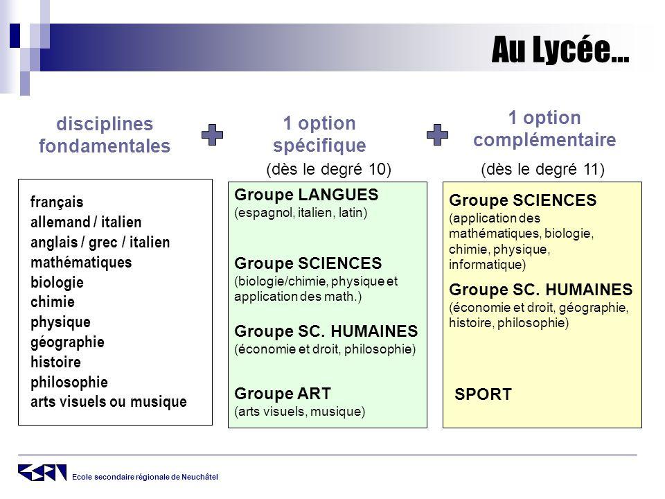 Ecole secondaire régionale de Neuchâtel Au Lycée… disciplines fondamentales français allemand / italien anglais / grec / italien mathématiques biologi