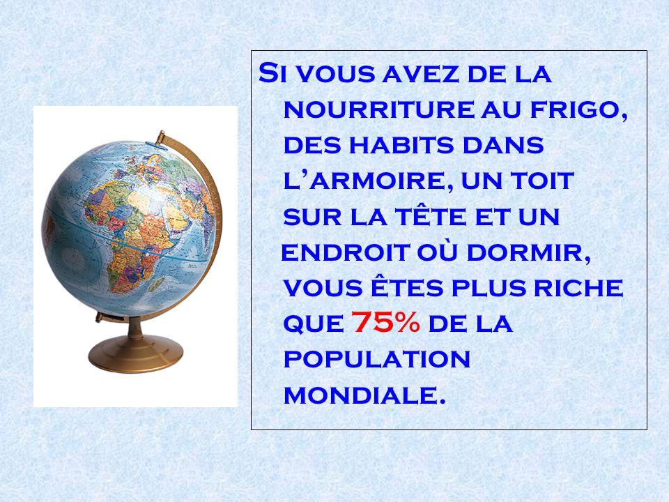 Si vous avez de la nourriture au frigo, des habits dans larmoire, un toit sur la tête et un endroit où dormir, vous êtes plus riche que 75% de la population mondiale.