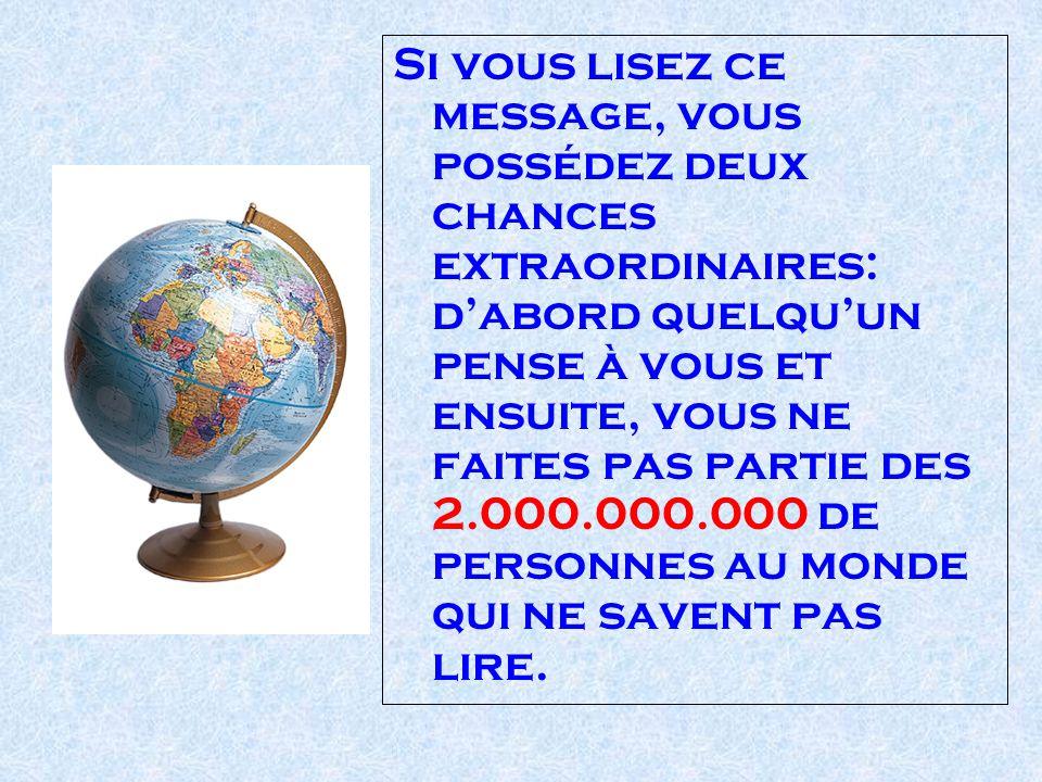 Si vous lisez ce message, vous possédez deux chances extraordinaires: dabord quelquun pense à vous et ensuite, vous ne faites pas partie des 2.000.000.000 de personnes au monde qui ne savent pas lire.