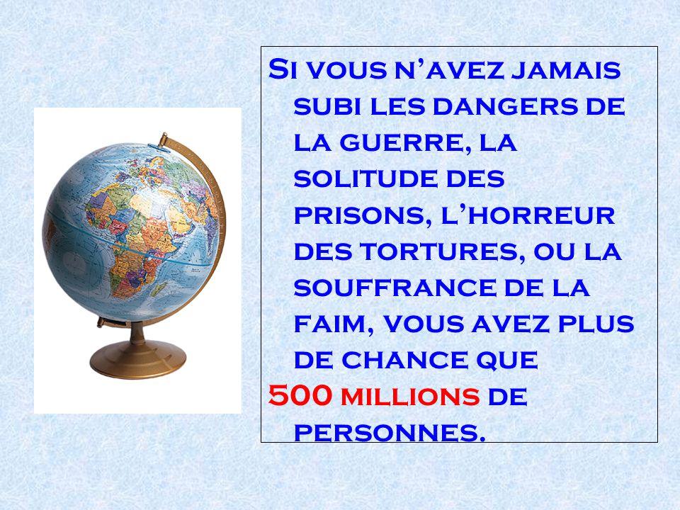 Si vous navez jamais subi les dangers de la guerre, la solitude des prisons, lhorreur des tortures, ou la souffrance de la faim, vous avez plus de chance que 500 millions de personnes.
