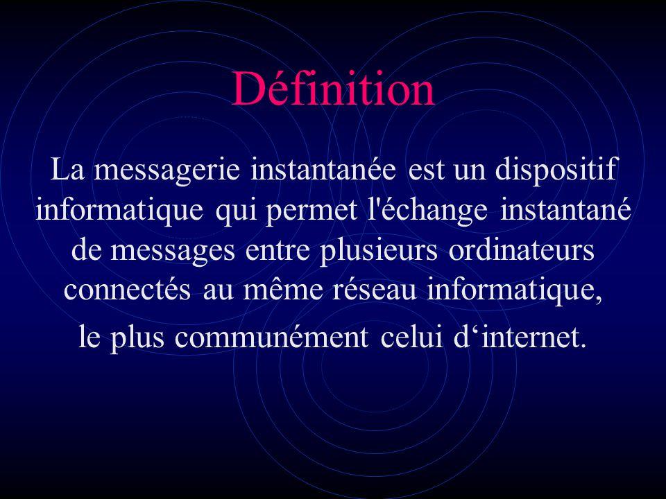 Définition La messagerie instantanée est un dispositif informatique qui permet l échange instantané de messages entre plusieurs ordinateurs connectés au même réseau informatique, le plus communément celui dinternet.