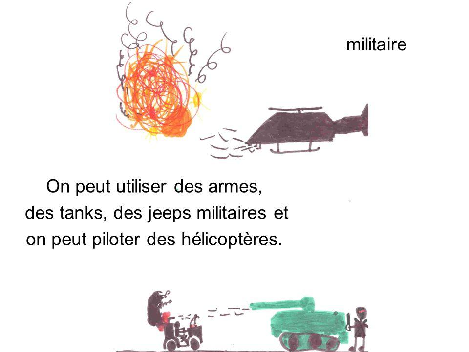 militaire On peut utiliser des armes, des tanks, des jeeps militaires et on peut piloter des hélicoptères.