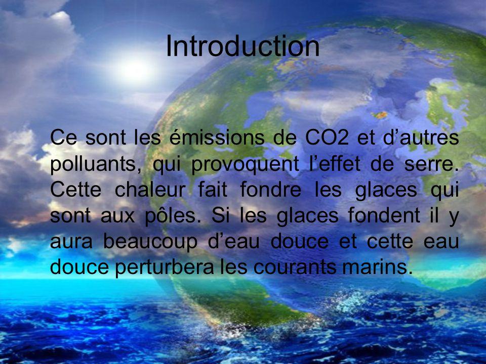 Introduction Ce sont les émissions de CO2 et dautres polluants, qui provoquent leffet de serre. Cette chaleur fait fondre les glaces qui sont aux pôle