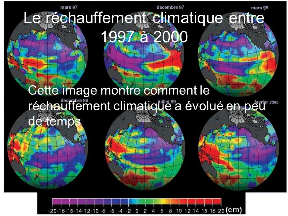 Le réchauffement climatique entre 1997 à 2000 Cette image montre comment le réchauffement climatique a évolué en peu de temps