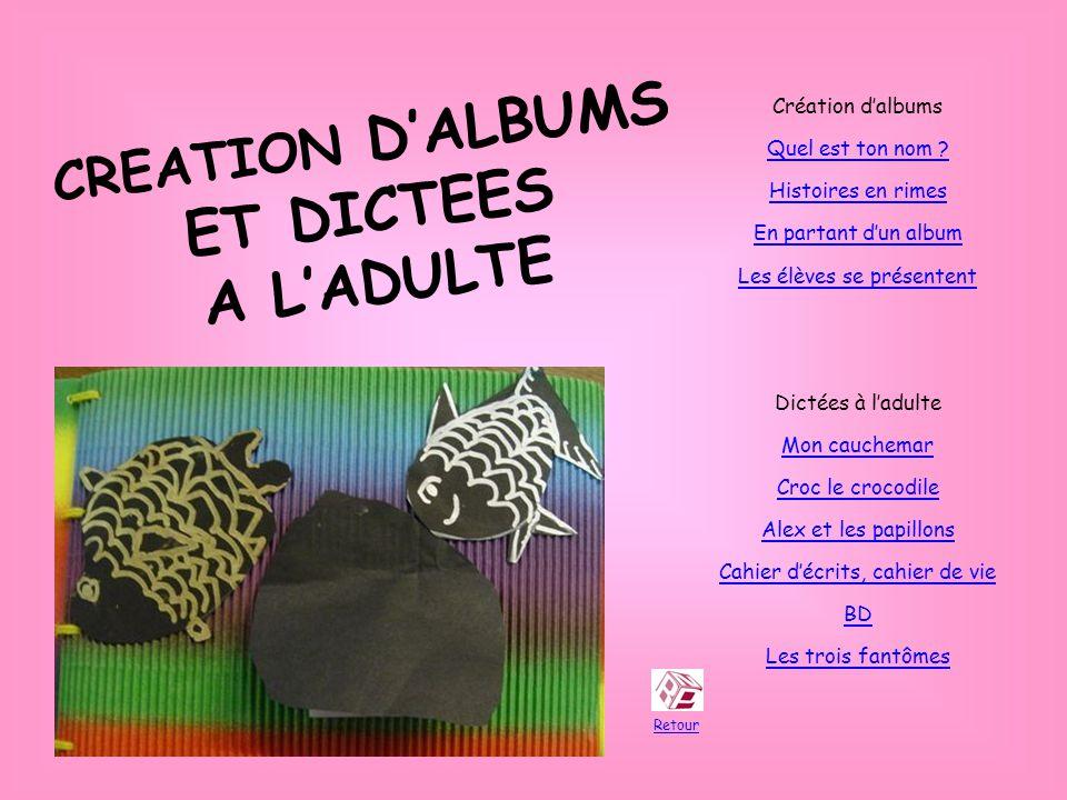 CREATION DALBUMS ET DICTEES A LADULTE Retour Création dalbums Quel est ton nom .