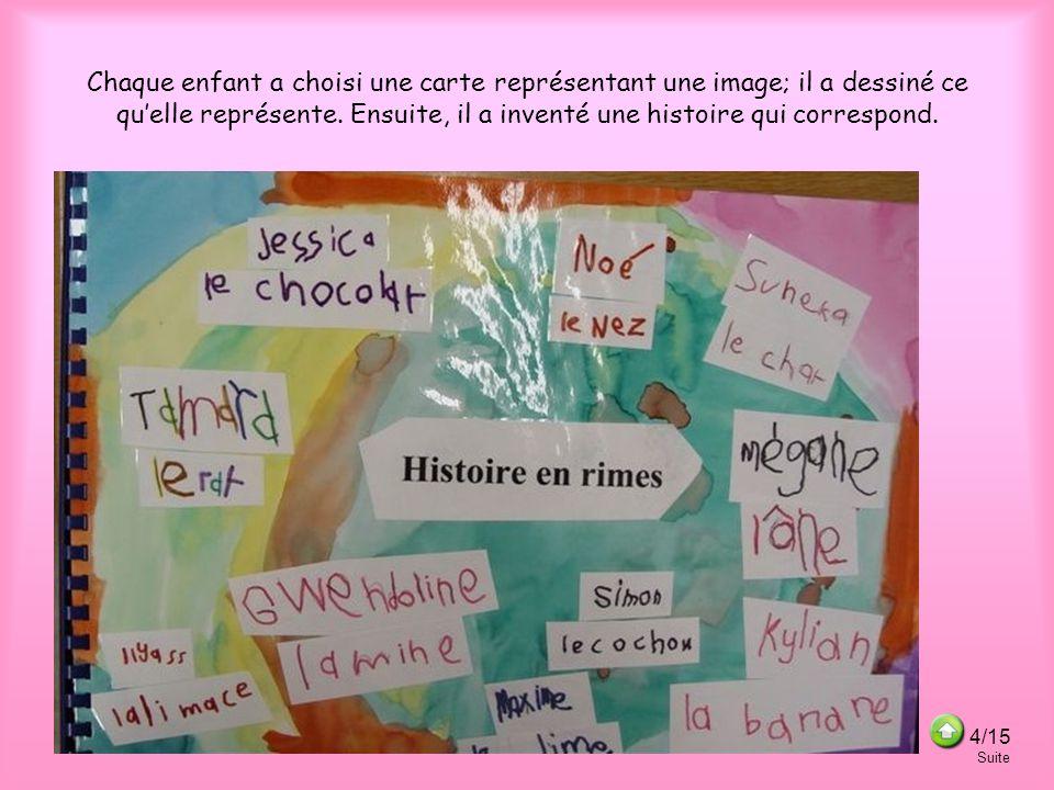 Chaque enfant a choisi une carte représentant une image; il a dessiné ce quelle représente.