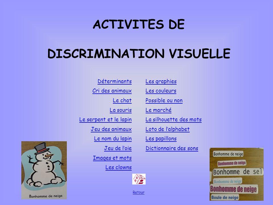 ACTIVITES DE DISCRIMINATION VISUELLE Déterminants Cri des animaux Le chat La souris Le serpent et le lapin Jeu des animaux Le nom du lapin Jeu de loie