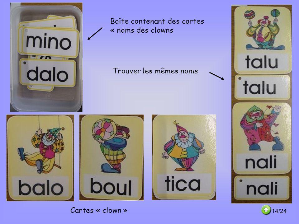 Boîte contenant des cartes « noms des clowns Cartes « clown » Trouver les mêmes noms 14/24