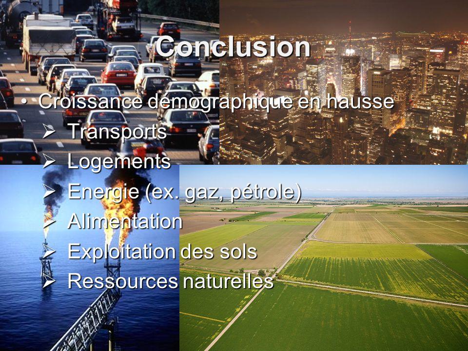 Conclusion Croissance démographique en hausseCroissance démographique en hausse Transports Transports Logements Logements Energie (ex. gaz, pétrole) E