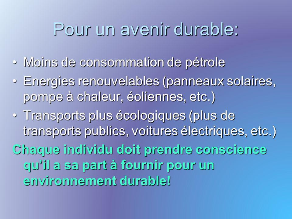 Pour un avenir durable: Moins de consommation de pétrole Energies renouvelables (panneaux solaires, pompe à chaleur, éoliennes, etc.) Transports plus