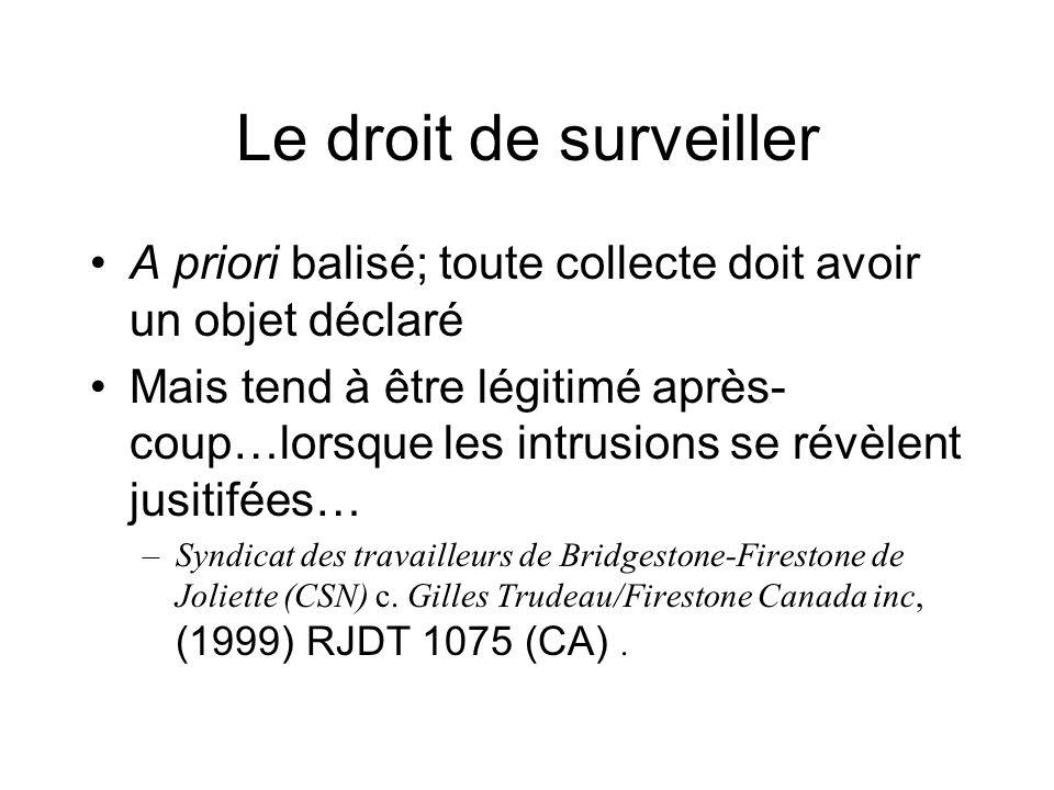 Le droit de surveiller A priori balisé; toute collecte doit avoir un objet déclaré Mais tend à être légitimé après- coup…lorsque les intrusions se rév