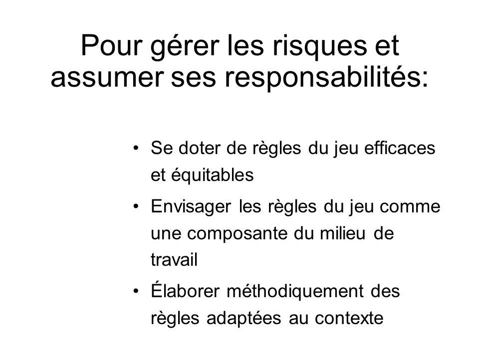 Pour gérer les risques et assumer ses responsabilités: Se doter de règles du jeu efficaces et équitables Envisager les règles du jeu comme une composa