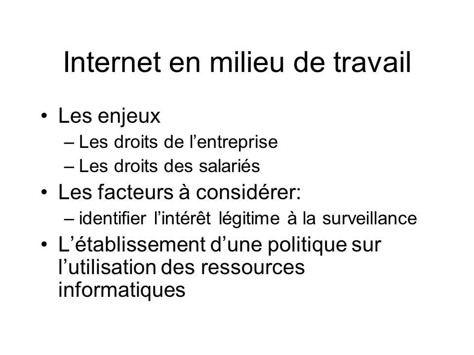 Internet en milieu de travail Les enjeux –Les droits de lentreprise –Les droits des salariés Les facteurs à considérer: –identifier lintérêt légitime