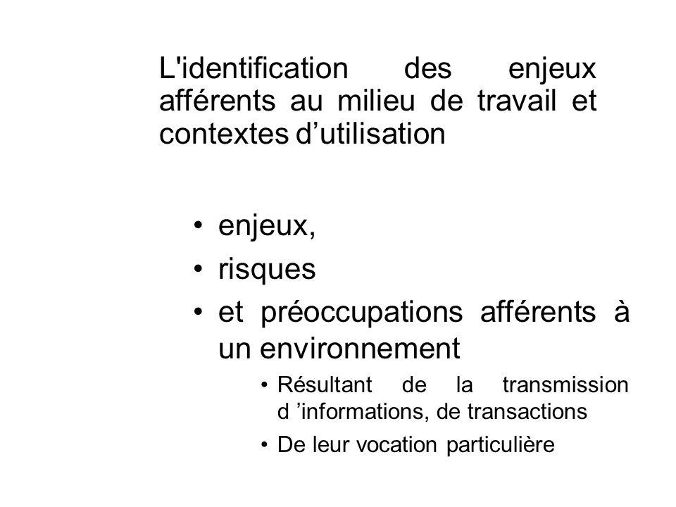 L'identification des enjeux afférents au milieu de travail et contextes dutilisation enjeux, risques et préoccupations afférents à un environnement Ré
