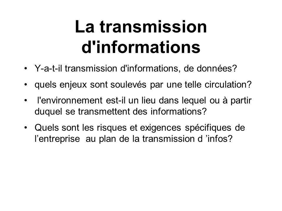 La transmission d'informations Y-a-t-il transmission d'informations, de données? quels enjeux sont soulevés par une telle circulation? l'environnement