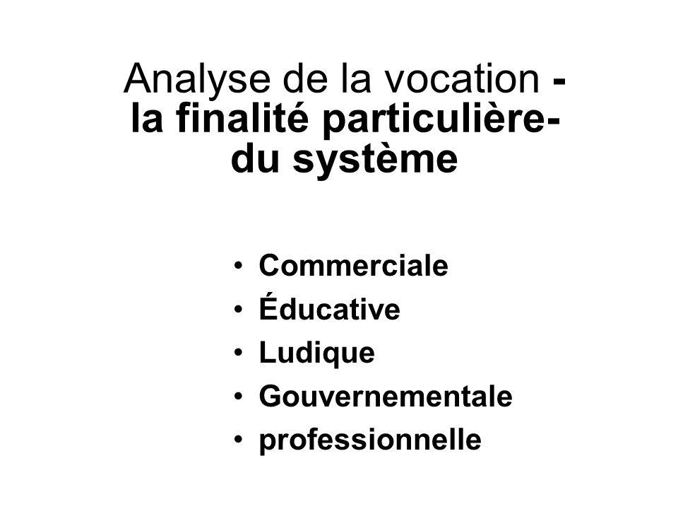 Analyse de la vocation - la finalité particulière- du système Commerciale Éducative Ludique Gouvernementale professionnelle