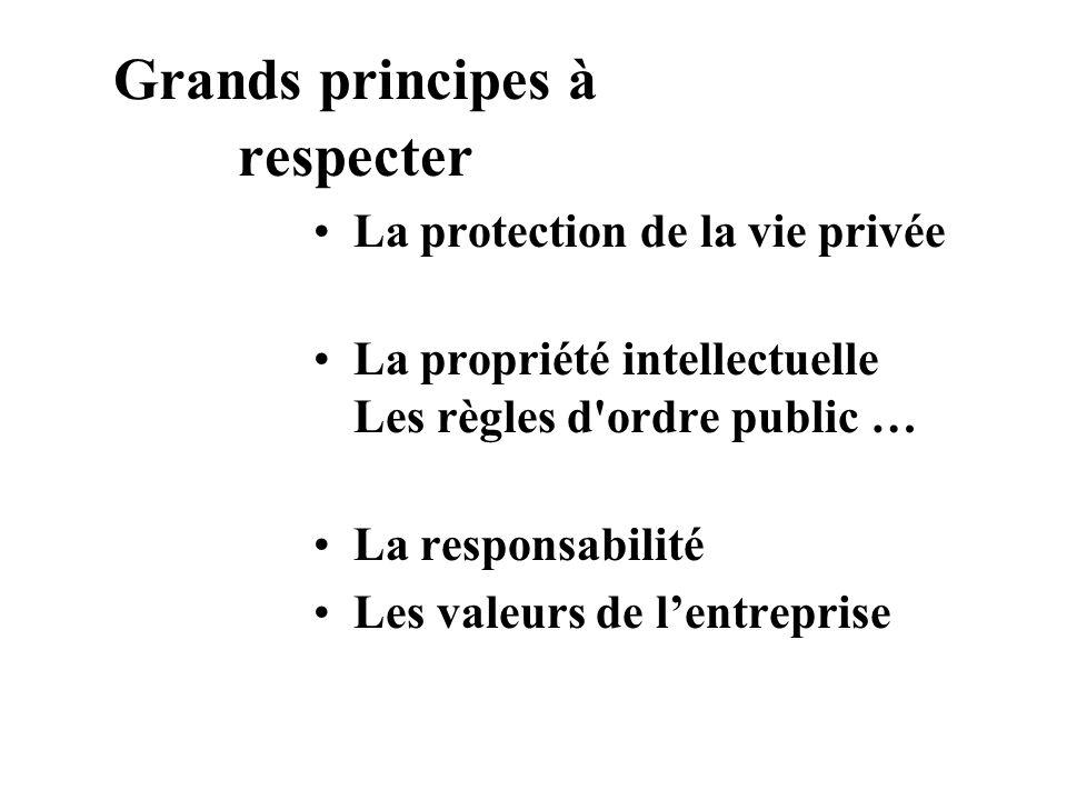Grands principes à respecter La protection de la vie privée La propriété intellectuelle Les règles d'ordre public … La responsabilité Les valeurs de l