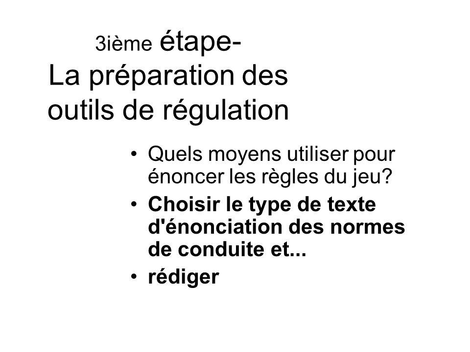 3ième étape- La préparation des outils de régulation Quels moyens utiliser pour énoncer les règles du jeu? Choisir le type de texte d'énonciation des