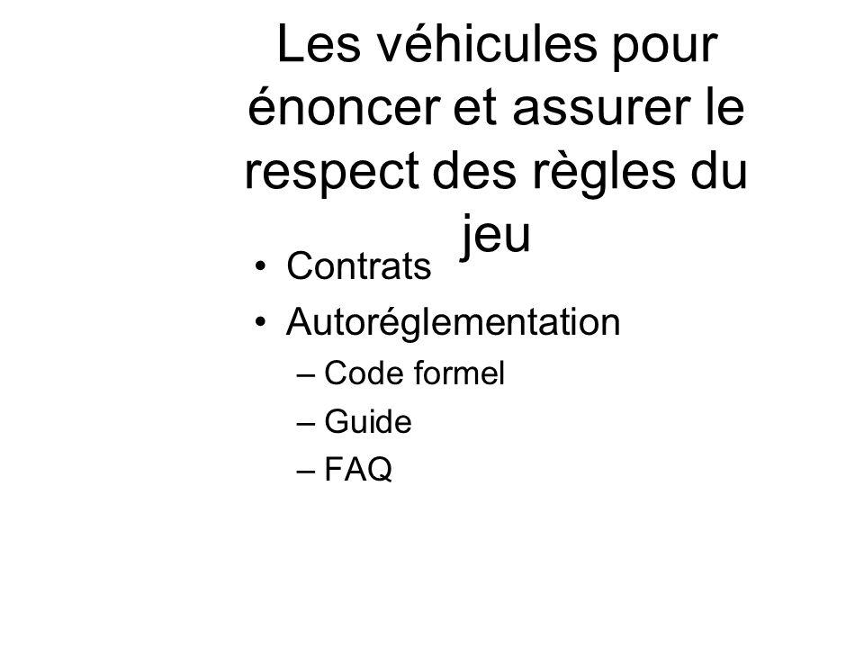 Les véhicules pour énoncer et assurer le respect des règles du jeu Contrats Autoréglementation –Code formel –Guide –FAQ