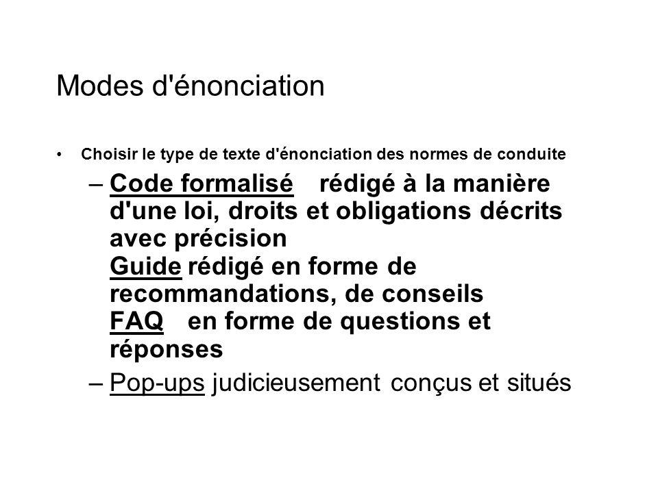 Modes d'énonciation Choisir le type de texte d'énonciation des normes de conduite –Code formalisérédigé à la manière d'une loi, droits et obligations