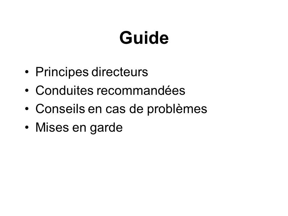 Guide Principes directeurs Conduites recommandées Conseils en cas de problèmes Mises en garde