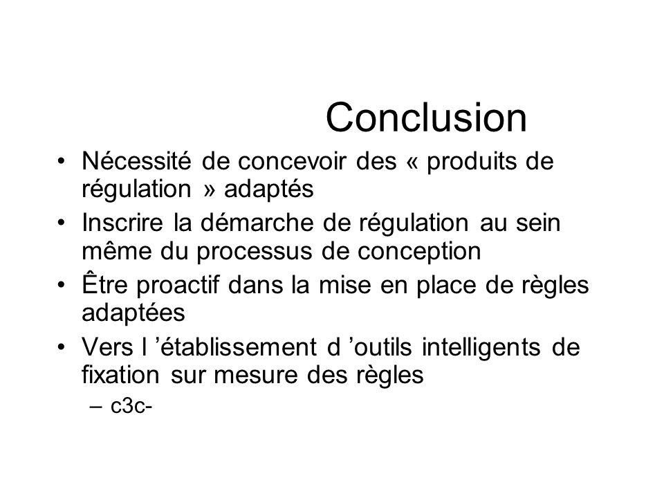 Conclusion Nécessité de concevoir des « produits de régulation » adaptés Inscrire la démarche de régulation au sein même du processus de conception Êt