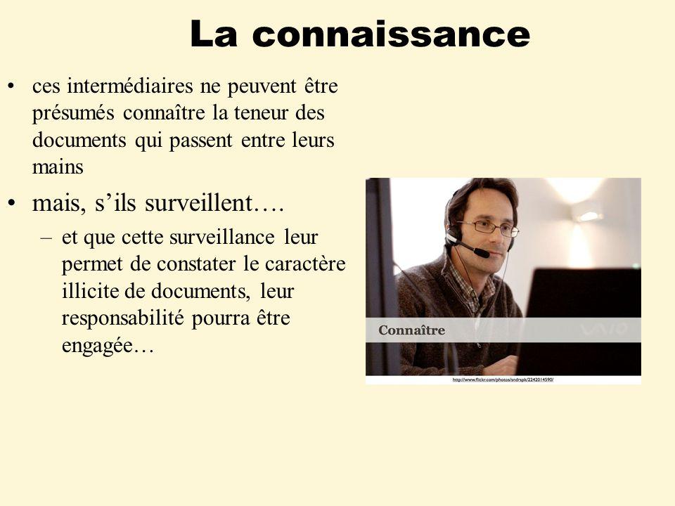 La connaissance ces intermédiaires ne peuvent être présumés connaître la teneur des documents qui passent entre leurs mains mais, sils surveillent….
