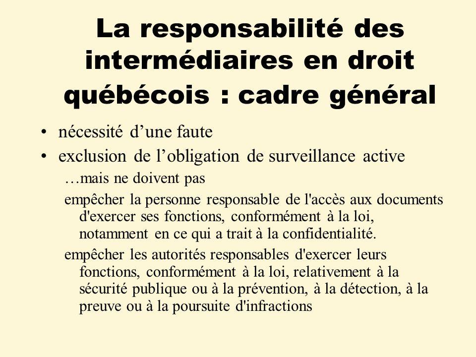 La responsabilité des intermédiaires en droit québécois : cadre général nécessité dune faute exclusion de lobligation de surveillance active …mais ne doivent pas empêcher la personne responsable de l accès aux documents d exercer ses fonctions, conformément à la loi, notamment en ce qui a trait à la confidentialité.