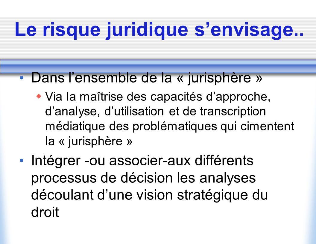 Risques juridiques et « intelligence juridique » Une approche intelligente et stratégique de la ressource juridique* au service de la prise de décisio