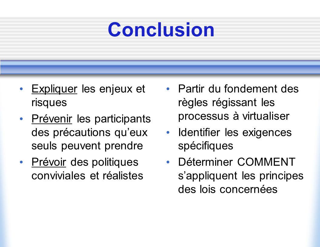 Les politiques à mettre en place Politique de fonctionnement du service Des transactions Politique de confidentialité Politique didentification