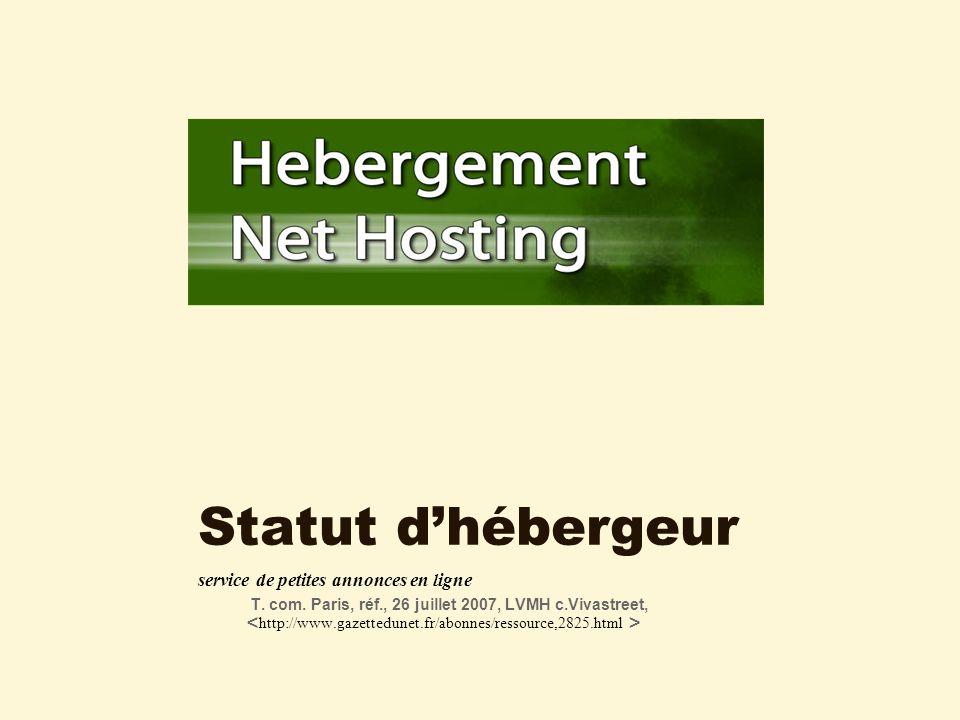 Statut dhébergeur service de petites annonces en ligne T.