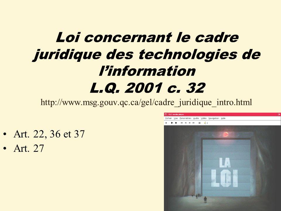 Loi concernant le cadre juridique des technologies de linformation L.Q.