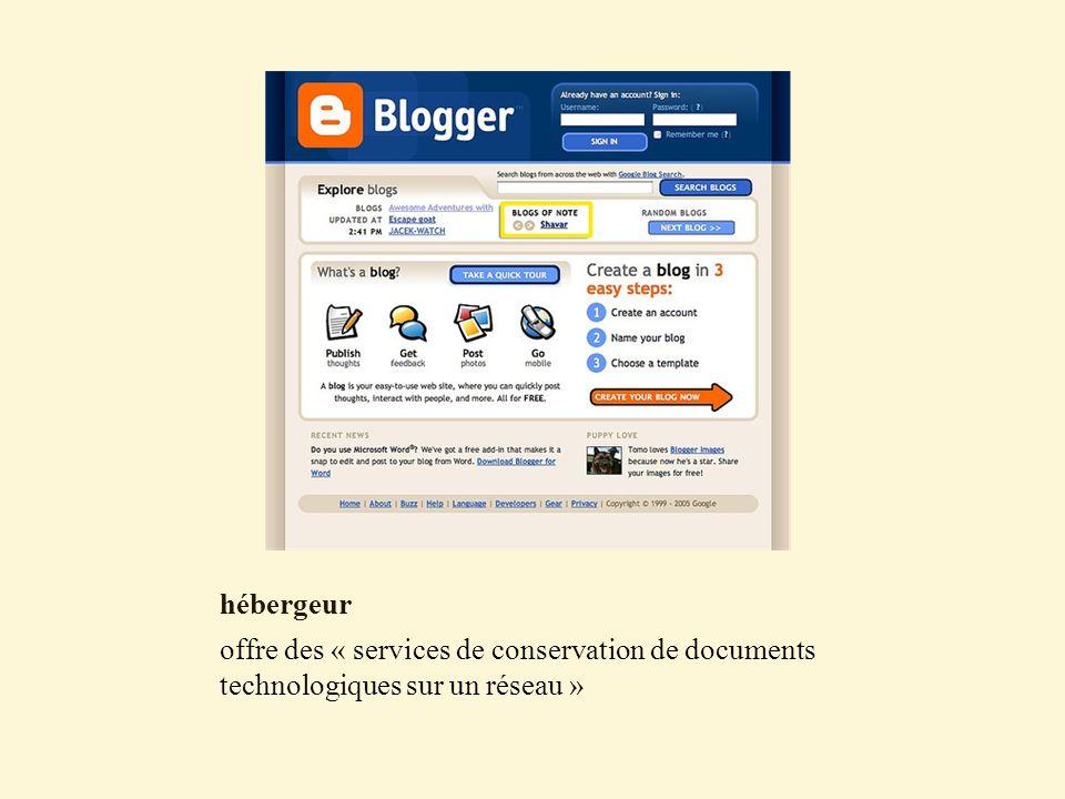 hébergeur offre des « services de conservation de documents technologiques sur un réseau »