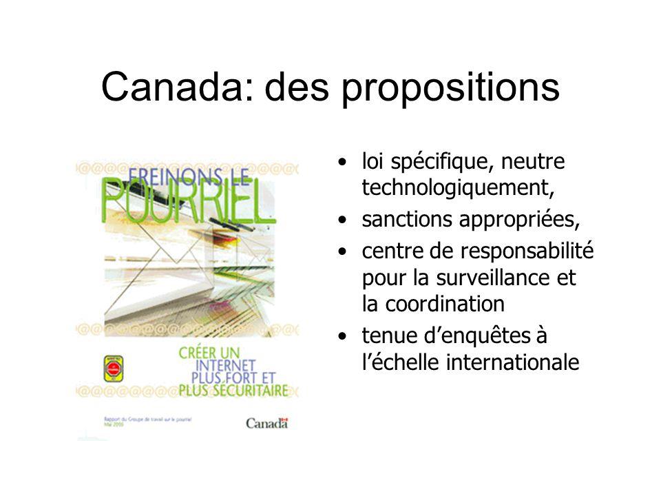 Canada: des propositions loi spécifique, neutre technologiquement, sanctions appropriées, centre de responsabilité pour la surveillance et la coordination tenue denquêtes à léchelle internationale