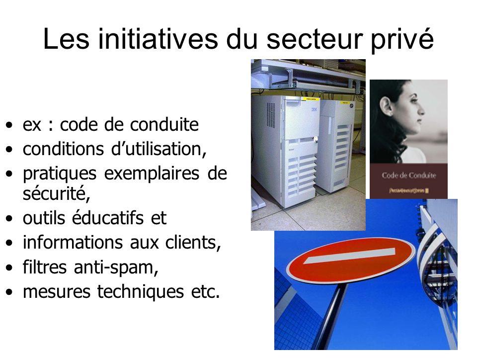 Les initiatives du secteur privé ex : code de conduite conditions dutilisation, pratiques exemplaires de sécurité, outils éducatifs et informations aux clients, filtres anti-spam, mesures techniques etc.