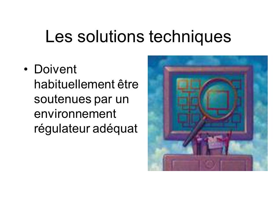 Les solutions techniques Doivent habituellement être soutenues par un environnement régulateur adéquat