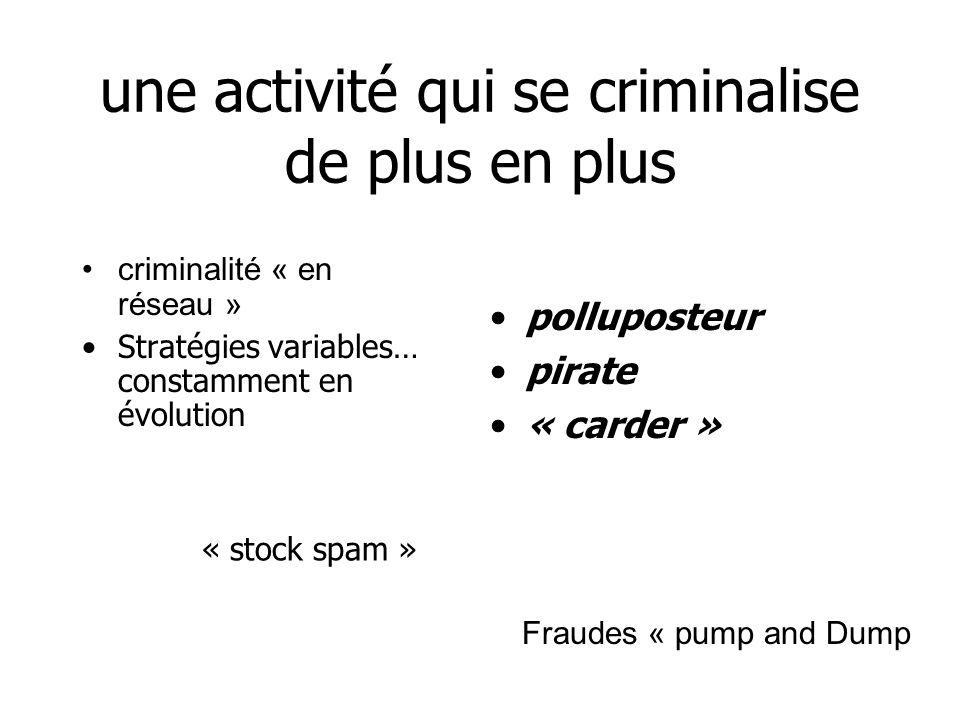 une activité qui se criminalise de plus en plus criminalité « en réseau » Stratégies variables… constamment en évolution polluposteur pirate « carder » « stock spam » Fraudes « pump and Dump